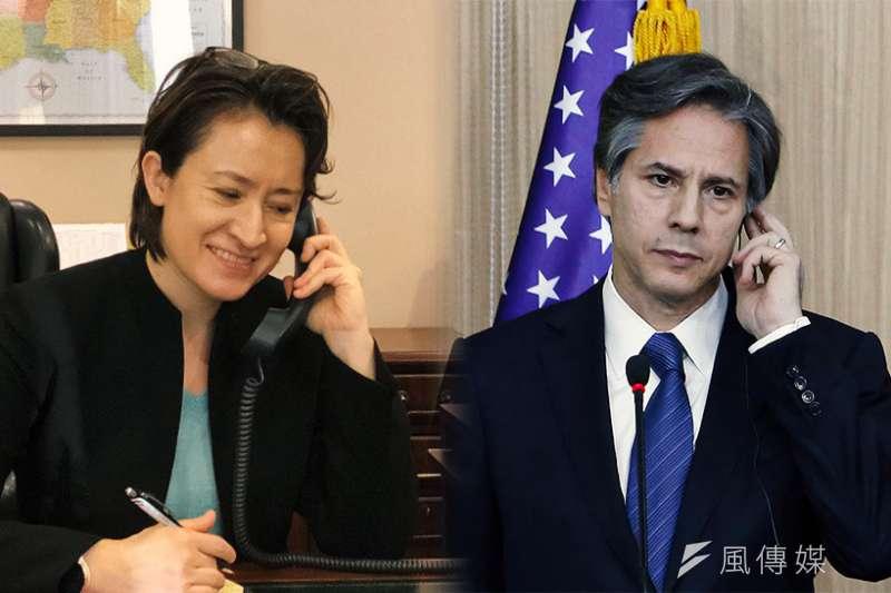 2020年11月14日,台灣駐美代表蕭美琴與即將接任美國 國務卿的布林肯通電話,對方說可公告就公告,美國高官來訪,說不能公告就不公告 (風傳媒製圖/翻攝Twitter,AP資料照)