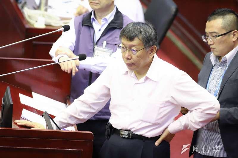 台北市長柯文哲赴議會「市政總質詢及答覆」。(陳品佑攝)