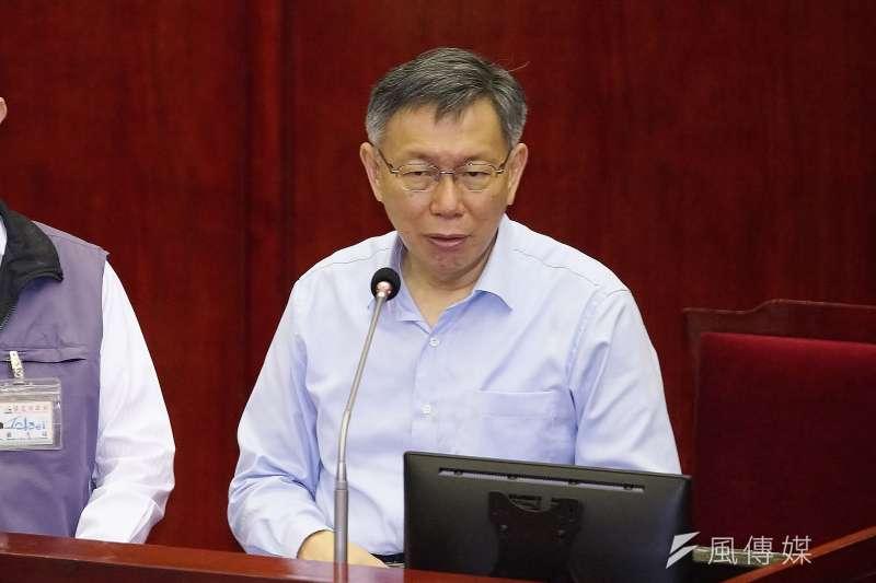 北市議員王鴻薇要求北市府找網紅行銷成效要訂KPI,市長柯文哲(見圖)表示「這具體要求合理」。(盧逸峰攝)