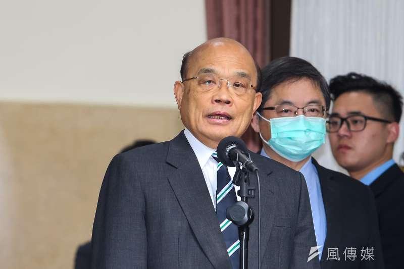 據台灣民意基金會24日發布的民調顯示,有4成民眾不滿意行政院長蘇貞昌(見圖)的施政表現,內閣滿意度處於今年初以來最低。(資料照,顏麟宇攝)