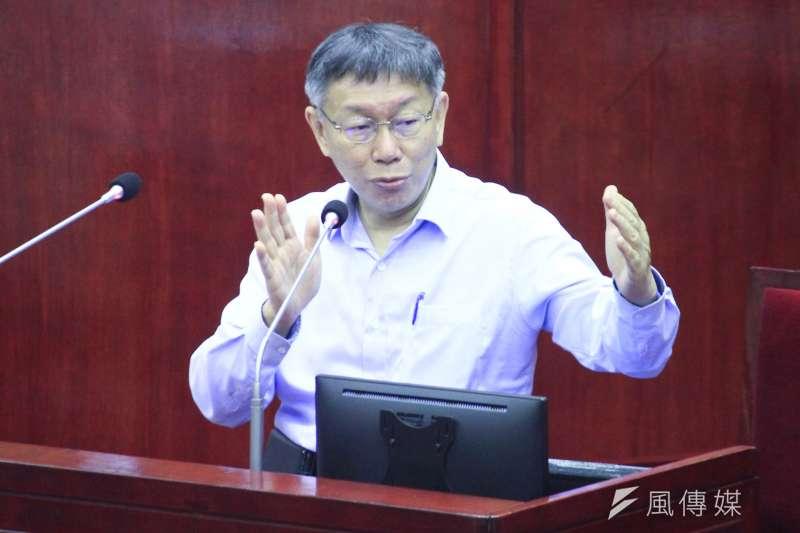 對於行政院長蘇貞昌被國民黨團杯葛,遲遲未能上台施政報告、總質詢,柯文哲直言,他覺得民進黨是故意的。(方炳超攝)