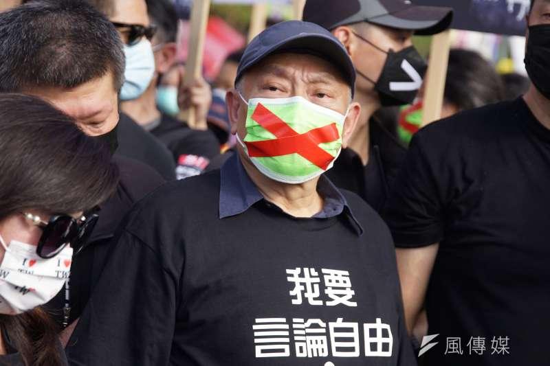 秋鬥遊行於22日登場,旺中集團董事長蔡衍明出席。(盧逸峰攝)