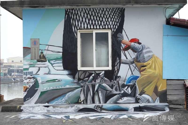 漁民卸魚彩繪。(圖/徐炳文攝)