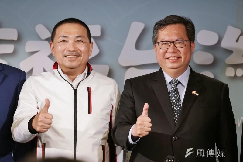新北市長侯友宜(左起)、桃園市長鄭文燦19日將在財經雜誌論壇中同台。(資料照,盧逸峰攝)
