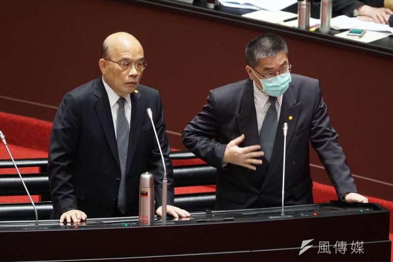 20201201-行政院長蘇貞昌、內政部長徐國勇1日赴立院院會備詢。(盧逸峰攝)