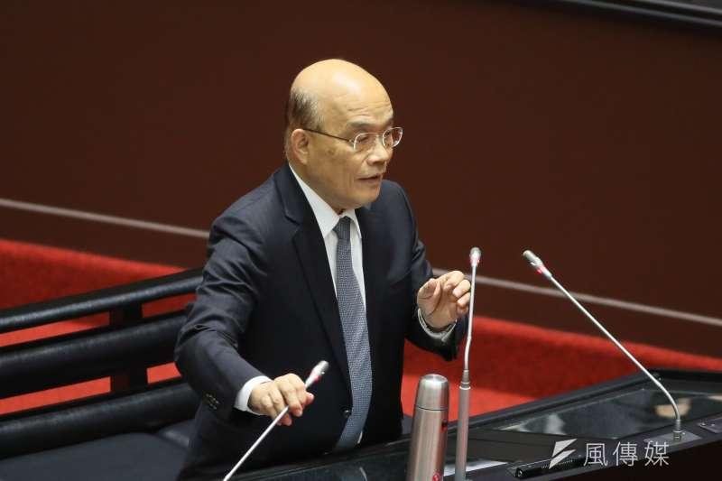 行政院長蘇貞昌立法院備詢,踢到信功肉品的鐵板,該公司極巧合的就碰上「有人檢舉」。(柯承惠攝)