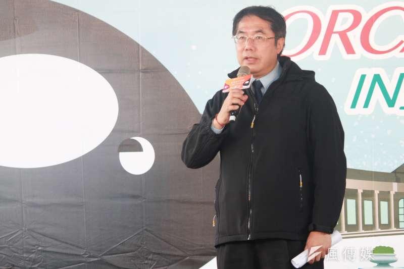 20201205-台南市長黃偉哲5日出席台北市自來水園區活動,並上台致詞。(方炳超攝)