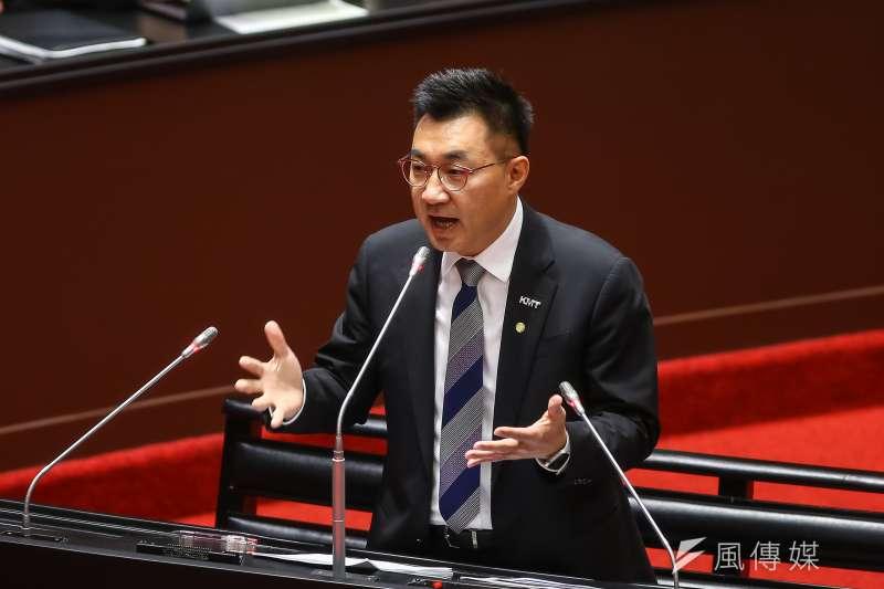 國民黨主席江啟臣(見圖)表示,總統蔡英文遇到難以招架的問題時,就拿國家利益來回答。(資料照,顏麟宇攝)