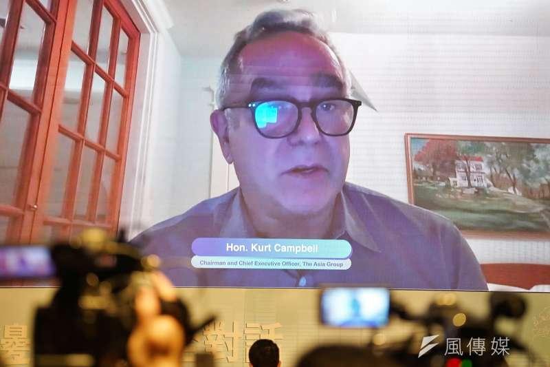 2020台美日三邊印太安全對話:美國國務院前亞太助卿坎博(Kurt Campbell)透過視訊發表專題演說。(盧逸峰攝)