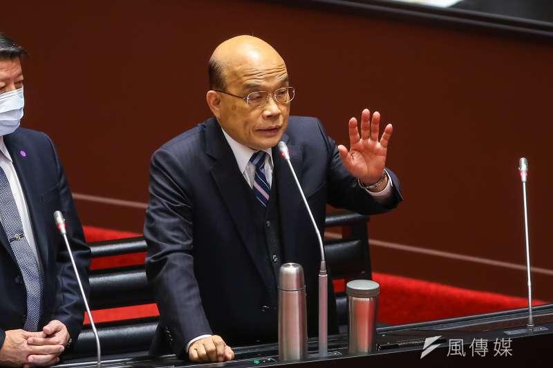 針對開放萊豬,行政院長蘇貞昌(見圖)11日在立法院表示,總統蔡英文和他商量此事很久,從他當行政院長後不久就有討論過。(顏麟宇攝)