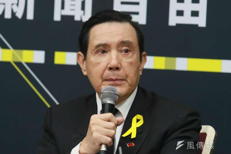 國民黨11日召開「捍衛新聞自由 全民監督政府」國際記者會,前總統馬英九出席。(柯承惠攝)