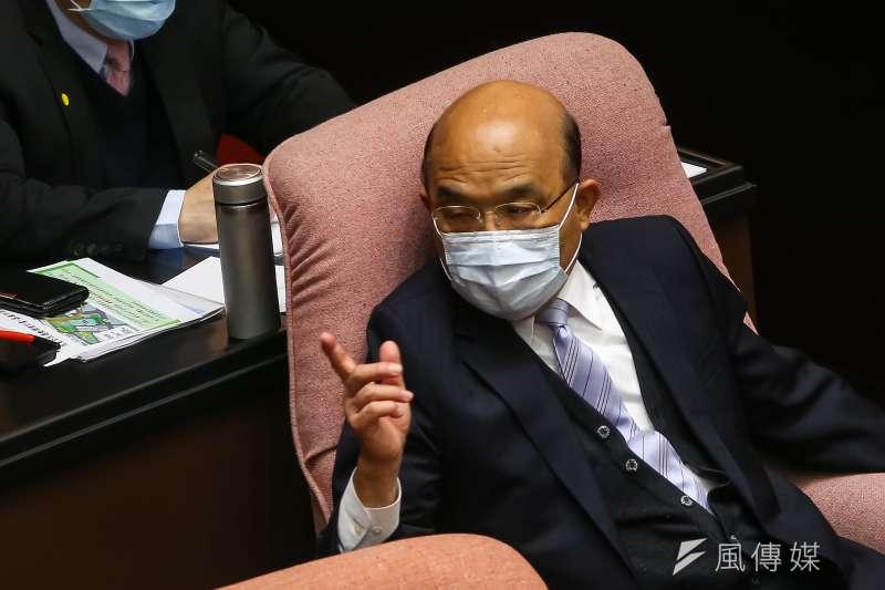 行政院長蘇貞昌15日出席立院院會,針對統編風波進行說明。(顏麟宇攝)