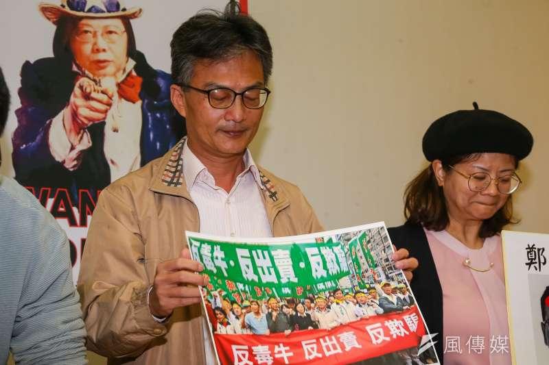蘇偉碩醫師17日出席民間反瘦肉精毒豬聯盟記者會。(顏麟宇攝)