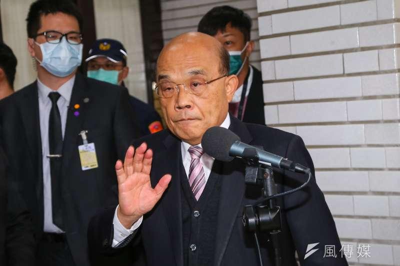 行政院長蘇貞昌(見圖)18日於立院接受媒體聯訪,談及醫師蘇偉碩遭約談一事。(顏麟宇攝)