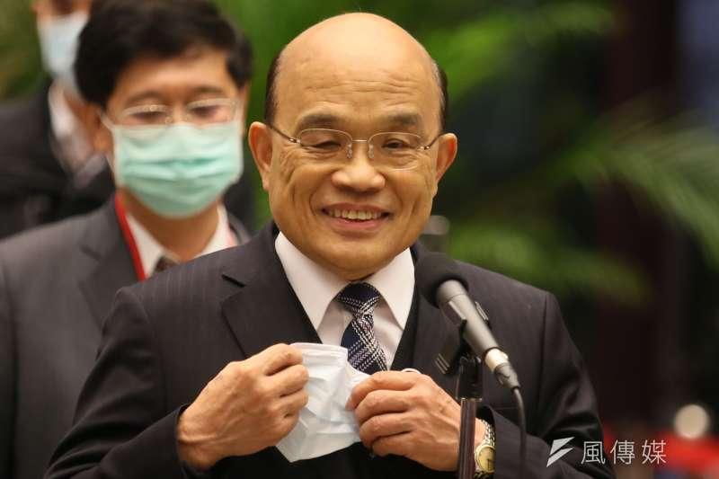 20201221-第11次全國性科學技術會議21日開幕,行政院長蘇貞昌出席前受訪。(柯承惠攝)