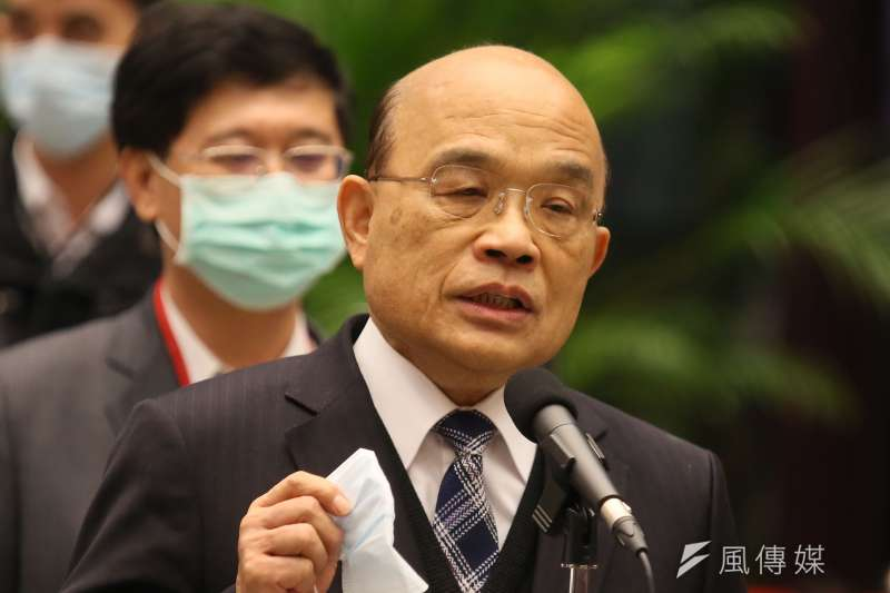 行政院長蘇貞昌(見圖)表示,台灣成功守住非洲豬瘟,是豬農對總統蔡英文開放美豬有信心的原因。(資料照,柯承惠攝)