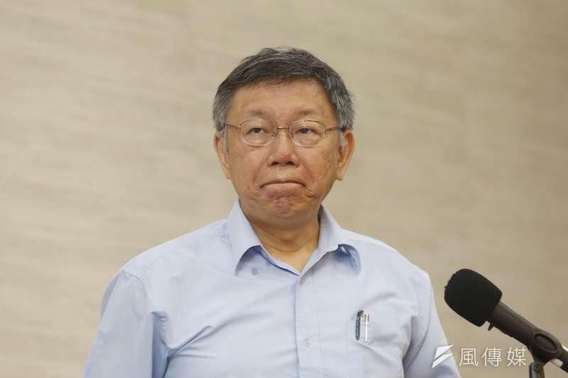 台北市長柯文哲(見圖)表示,若台灣對進口美國含萊劑肉品毫不設防,日方會質疑台灣差別待遇。(資料照,郭晉瑋攝)