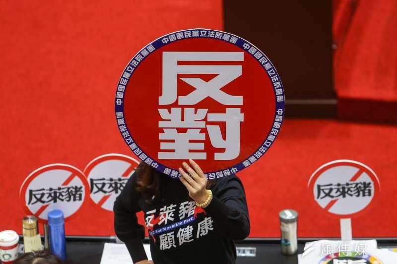 國民黨立院黨團24日於院會表決時高舉「反對,反萊豬」標語。(顏麟宇攝)