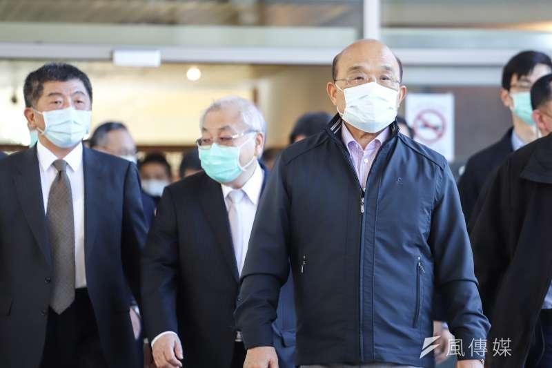 台灣民意基金會董事長游盈隆分析,若8月的反萊豬公投成案且通過,那就是行政院長蘇貞昌(右)要下台的時候了。(資料照,陳品佑攝)