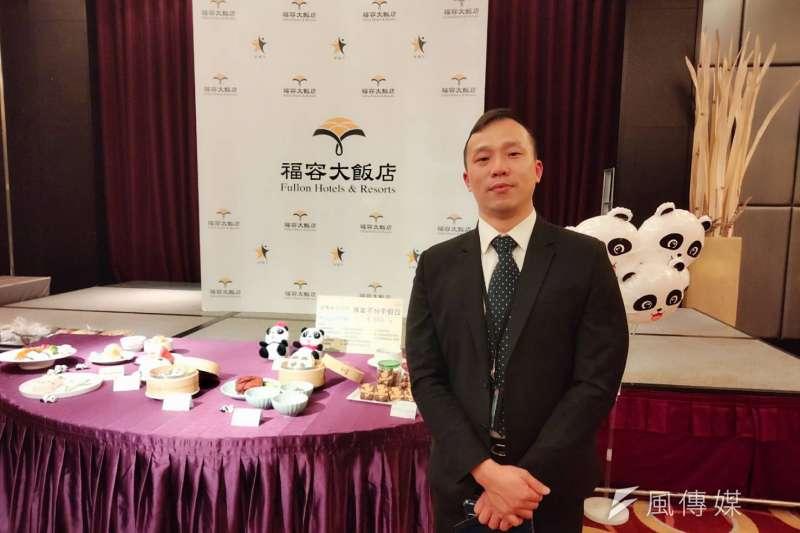 福容飯店台北二館駐店總經理吳威德表示,希望藉由首度打造的貓熊主題房,提升自家親子客占比。(林喬慧攝)