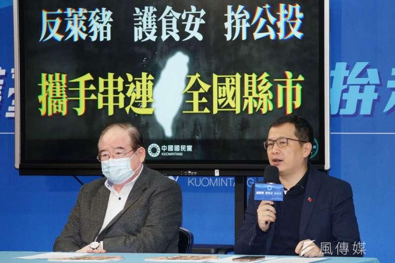 羅智強(右)聲稱發動割萊委,是凸顯綠營不顧食安的荒腔走板。(盧逸峰攝)