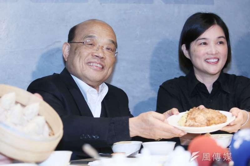 萊豬今年正式叩關,行政院長蘇貞昌(左)上月拍板「百億養豬基金」分配大餅。(資料照,柯承惠攝)