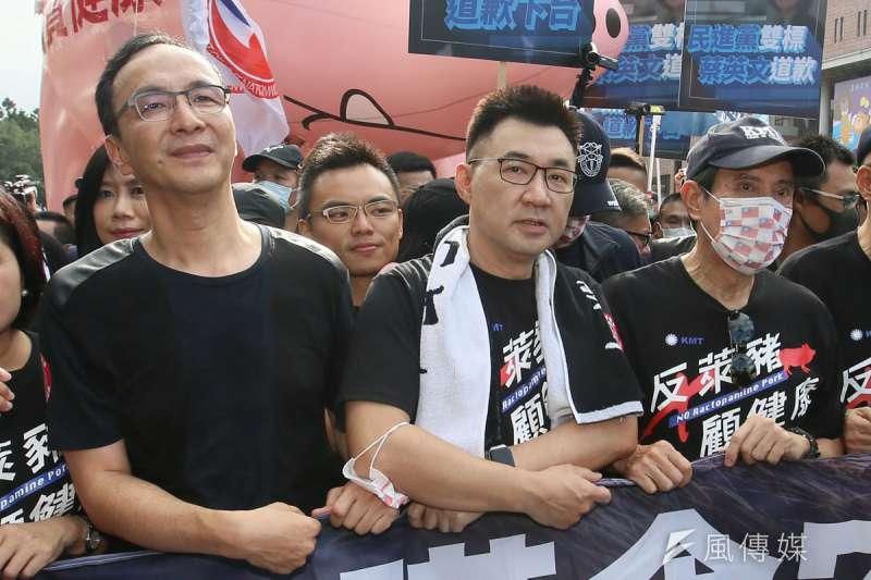 朱立倫(前排左)、江啟臣(前排中)仍為黨魁大位相爭不下。(柯承惠攝)