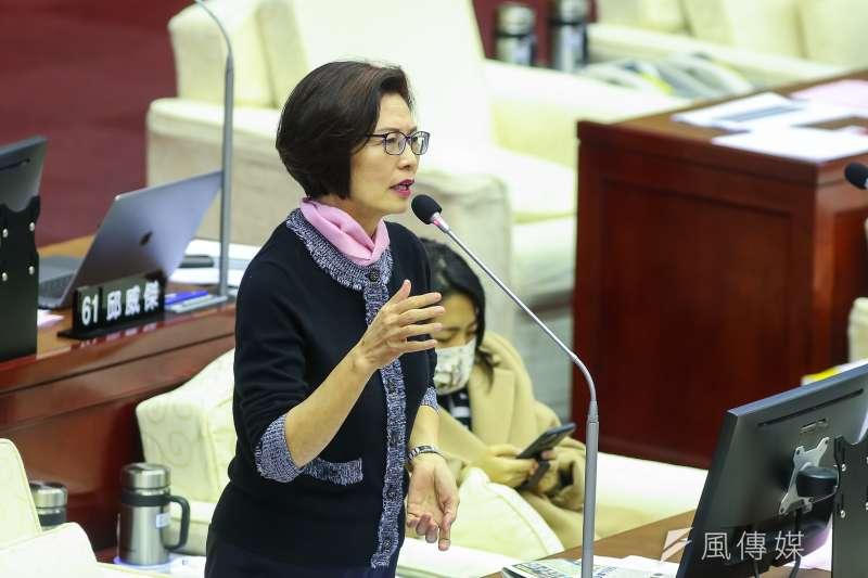 210107-台北市議員汪志冰7日於市議會質詢。(顏麟宇攝)