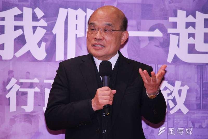 行政院長蘇貞昌(見圖)滿意度4個月內驟減13.5個百分點,約等於流失超過260萬人的支持。(資料照,蔡親傑攝)