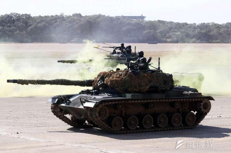 20210119-陸軍六軍團19日在新竹湖口中興台實施「反滲透重要目標防護演練」, CM11戰車參與演練。(蘇仲泓攝)