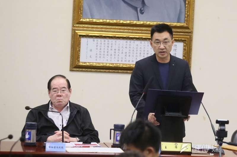 江啟臣(右)私下懷疑李乾龍(左)故意對外透露人事布局。(林瑞慶攝)