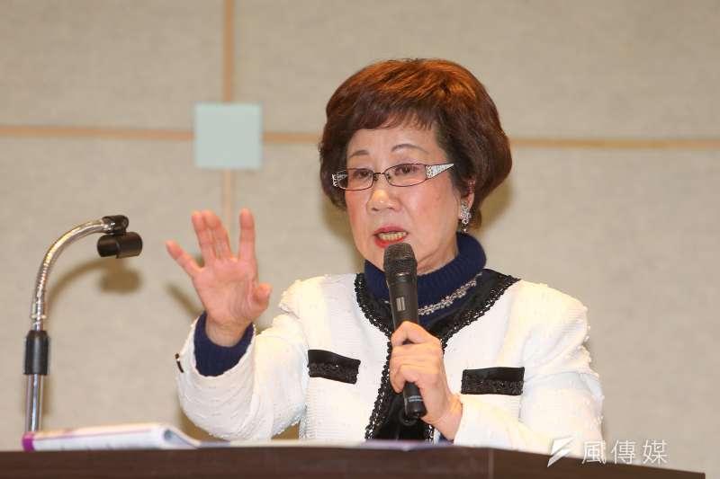 前副總統呂秀蓮23日出席民眾黨國家治理學院國政班第1屆第10期暨結業式,並發表演說。(顏麟宇攝)