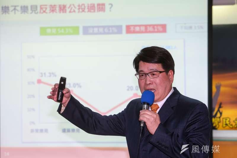台灣民意基金會董事長游盈隆(見圖)26日召開「萊豬公投、統獨傾向與台美關係」民調發表會。(顏麟宇攝)