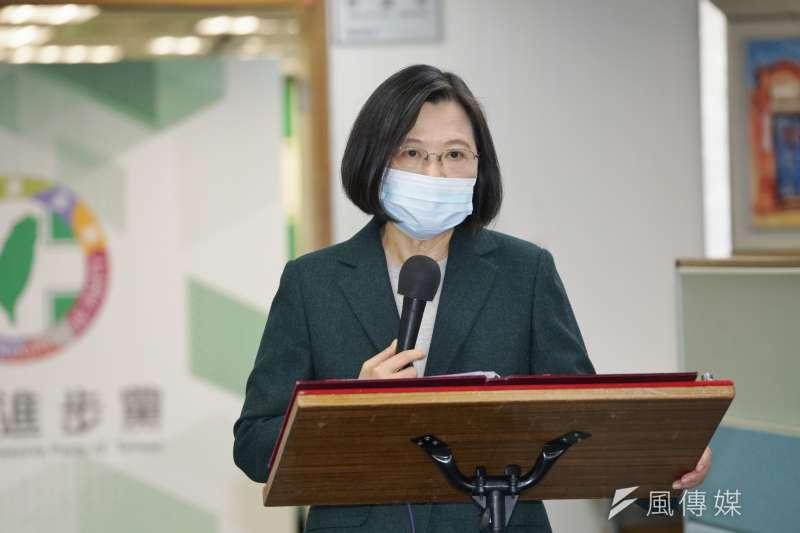 20210127-民進黨主席、總統蔡英文27日於中常會前發表談話。(盧逸峰攝)
