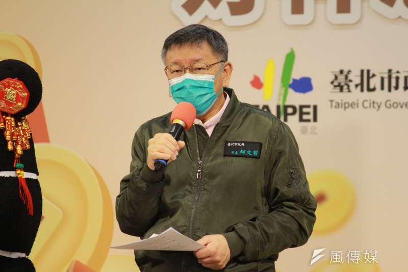 台北市長柯文哲(見圖)表示,台灣就算不用中國新冠疫苗,疫情大概半年內也會解決。(方炳超攝)