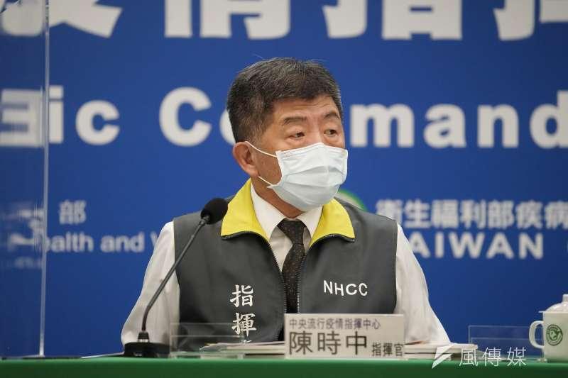 中央流行疫情指揮中心30日召開記者會,指揮官陳時中出席。(盧逸峰攝)