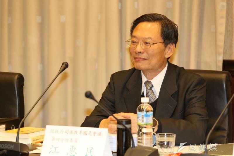 檢察總長江惠民認為,「二專生」選擇沒當過主任的檢察官,有利於人才培育。(郭晉瑋攝)