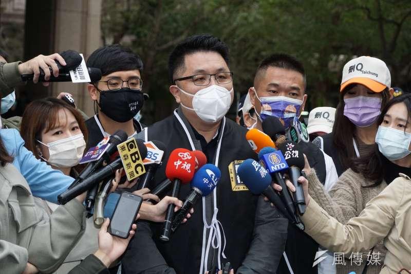 罷免陳柏惟提案領銜人楊文元(中)提出陳柏惟應該被罷免的4大訴求。(資料照,盧逸峰攝)