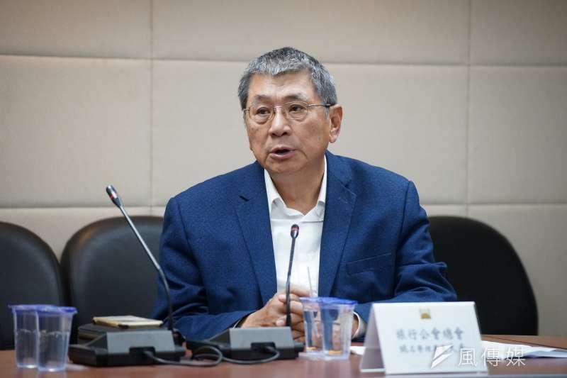 國家政策研究基金會9日舉行「COVID-19 對台灣經濟衝擊」記者會,旅行公會名譽理事長姚大光發言。(盧逸峰攝)