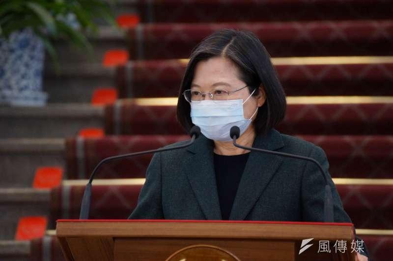 20210209-總統蔡英文9日於總統府發表談話。(盧逸峰攝)