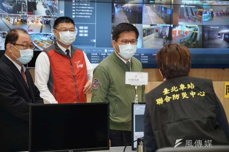 春假首日,交通部長林佳龍10日前往台北車站視導。(盧逸峰攝)