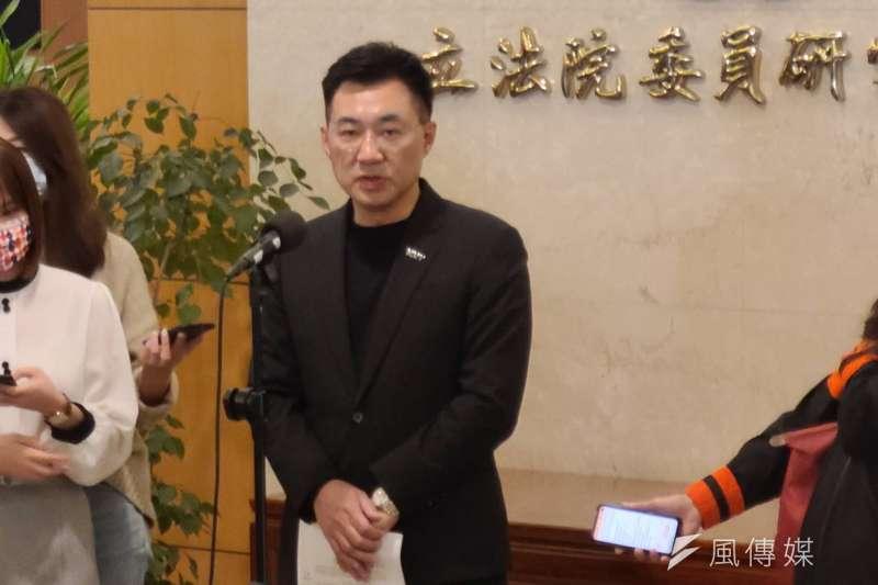 國民黨主席江啟臣20日宣布力拚連任,下午3時在立法院中興大樓受訪。(潘維庭攝)