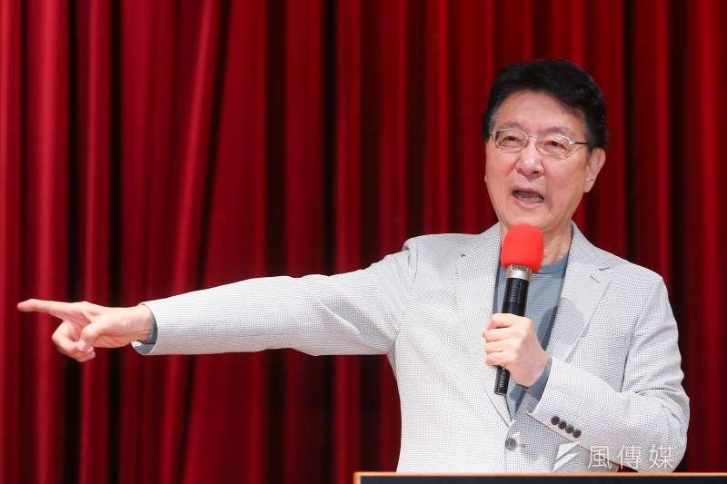 20210223-中廣董事長趙少康23日針對國家憲政體制、不在籍投票以及18歲公民權三大議題召開記者會說明。(顏麟宇攝)