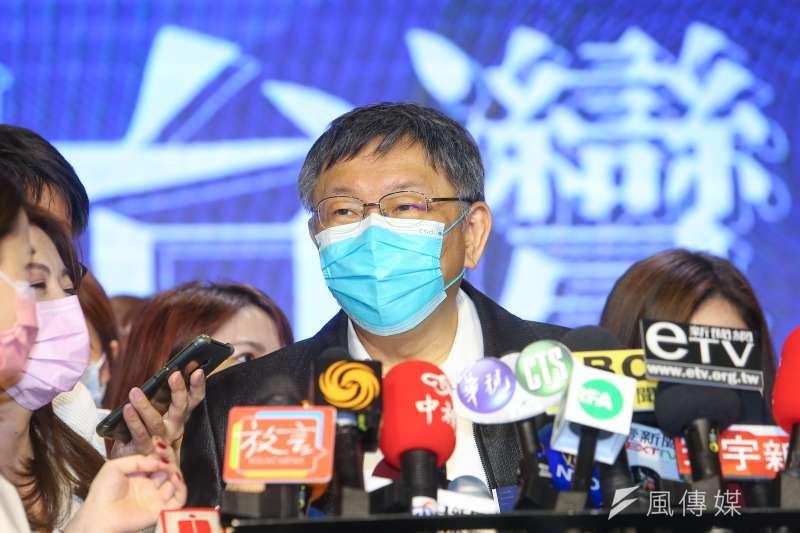 台北市長柯文哲24日出席「願景台灣2030」論壇,並接受媒體訪問。(顏麟宇攝)