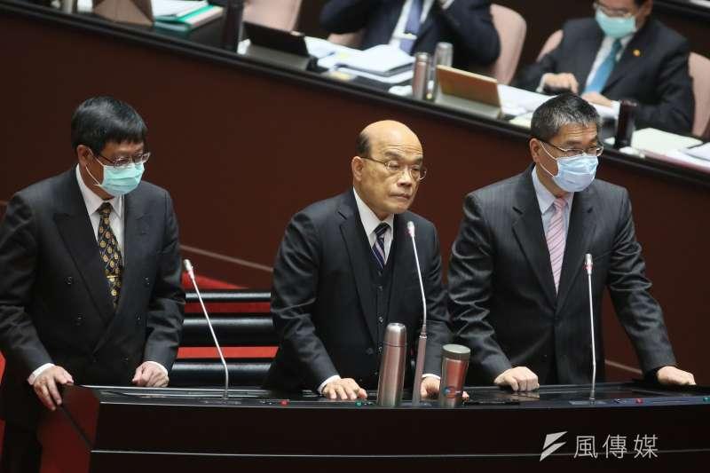 行政院長蘇貞昌(中)2日至立法院施政報告並備詢。(柯承惠攝)