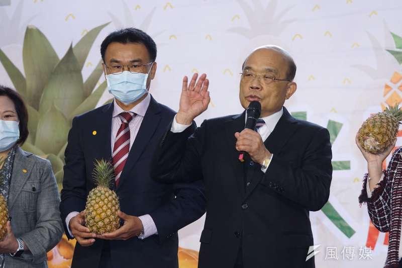 農委會主委陳吉仲、行政院長蘇貞昌出席「米鳳有約-是誰住在屏東的大鳳梨裡」記者會。(盧逸峰攝)