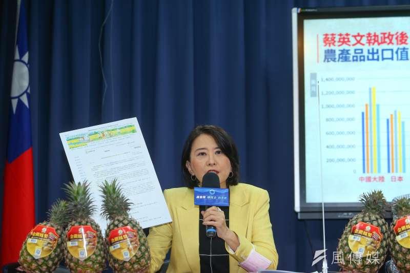 20210304-國民黨文傳會副主委王鴻薇4日召開「台農發神隱失能,農產新南向失敗」記者會。(顏麟宇攝)