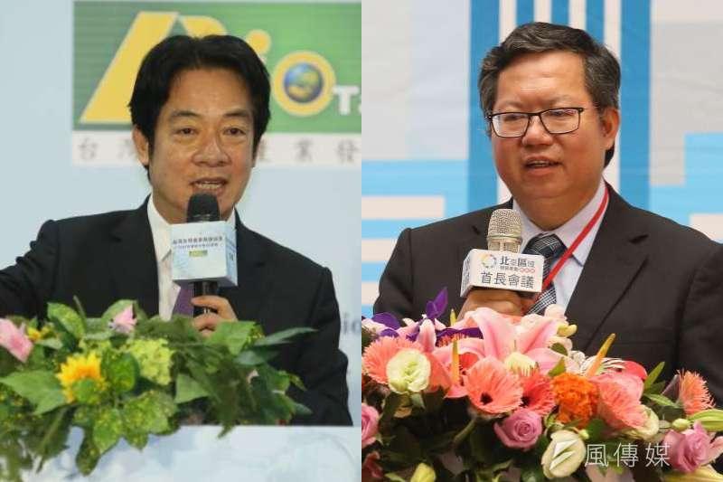 總統蔡英文任期將在2024屆滿,副總統賴清德(左)與桃園市長鄭文燦(右)都被視為可能接班人選。(資料照,柯承惠攝/影像合成:風傳媒)
