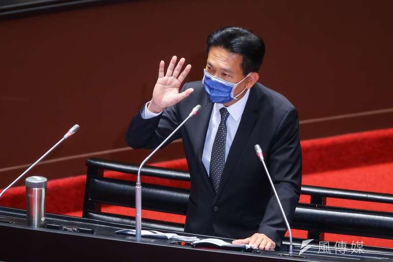20210316-民進黨立委林俊憲16日於立院質詢。(顏麟宇攝)