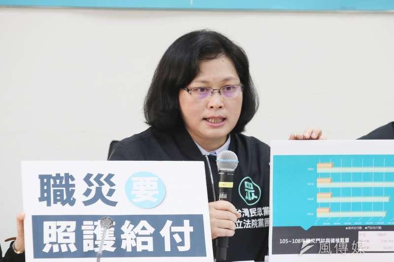 20210316-台灣民眾黨立法院黨團16日舉行「職災保險全面保障」記者會,立委賴香伶出席。(柯承惠攝)